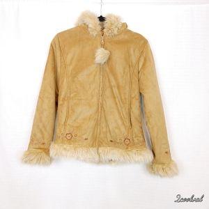 Vintage Cherokee Faux Suede and Fur Hoodie Jacket